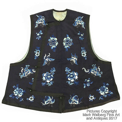 Chinese Embroidered Blue Silk Textile / Vest, Flowers & Butterflies, 19/20th C.