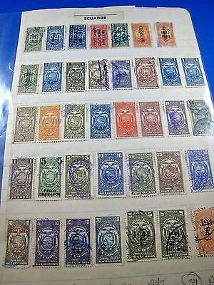 Ecuador Tax Stamps - Lot Of 37 Used