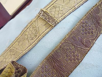 Gold coloured metallic trim - 450cms x 3cms wide - tarnished - grapes