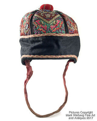 Antique Chinese Hand Embroidered Silk Textile, Child's Hat, 19/20th Century