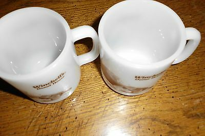 2 Vintage Winchell's Donut House Coffee Cup Mugs Glasbake Milk Glass Vintage