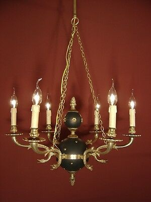 Vintage 6 Light Brass French Empire Chandelier Black Varnish Lamp