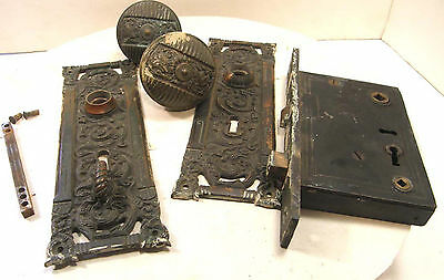 Antique Reading Hardware Bronze Columbian Mortise Box Backplates Door Knobs Knob