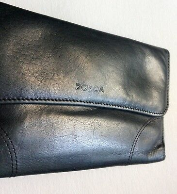BOSCA Women's Supple Black Leather Envelope Clutch Wallet / Checkbook Holder