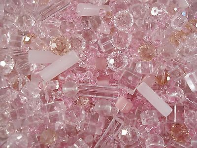 Glass Bead Mix 50g Pinks Asst Shapes/Sizes Jewellery Mixed Beaded FREE POSTAGE