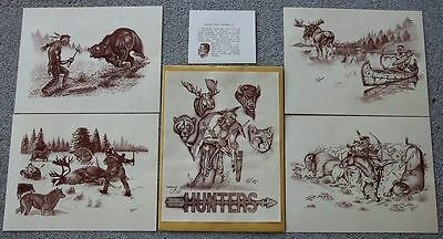 THE HUNTERS Set 4 Prints Winnebago Native American Indian Charles Chuck Raymond