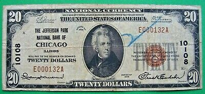 1929 $20. T1 JEFFERSON PARK NATIONAL BANK OF CHICAGO ILLINOIS IL Charter 10108