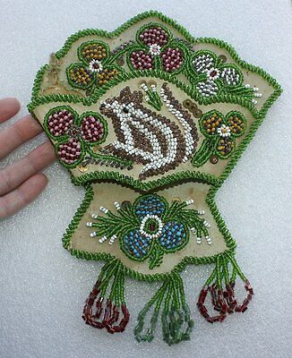 Antique Native American Indian Beadwork Squirrel Whimsy Whisk Broom Holder OLD