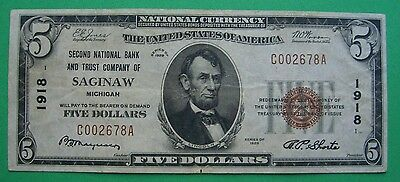 1929 $5. T1 SECOND NATIONAL BANK AND TRUST CO. SAGINAW MICHIGAN MI Charter 1918