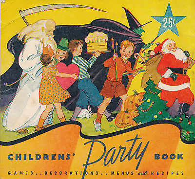 1935 Childrens' Party Book, Halloween, Christmas, Etc. Staley's Corn Starch Adv.