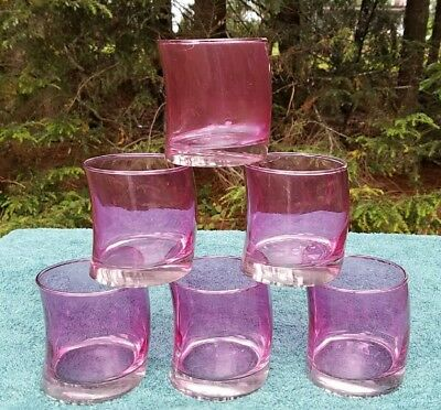 6 Leonardo SWING Amethyst Glass 12 Oz DOUBLE OLD FASHIONED TUMBLERS Glasses NR
