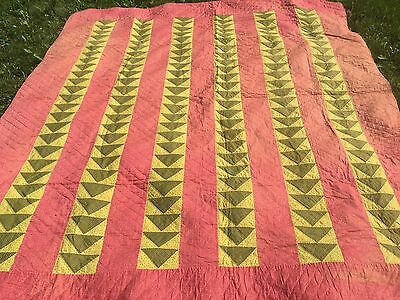 Antique 1880's vibrant colors Flying Geese Wild Goose Chase Antique Quilt Top