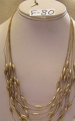 """Cold Water Creek Genuine /& Faux Pearl Shell Bead Necklace 4 Str wire Jewelry 21/"""""""