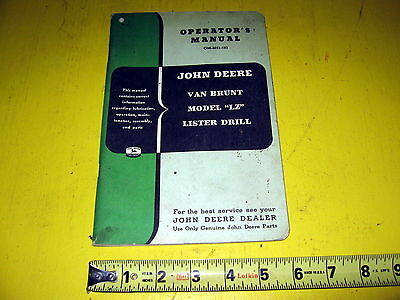 John Deere Van Brunt LZ Lister Drill Operators Manual