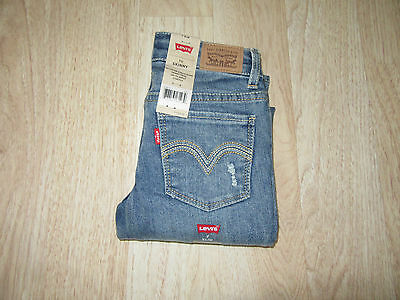 Youth Girls Levi's 711 Skinny Fit Distressed Jeans Size 7 Slim Blue