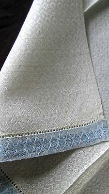 antique pair hand towels/guest towels white linen diamond weave blue edges 21x13