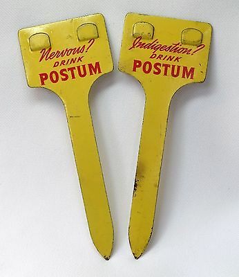 2 Vintage Yellow Red Enameled Postum Grocery Store Advertising Price Holder Sign