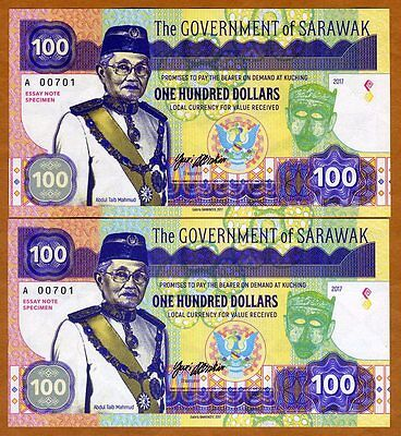 SET Sarawak 2 x $100, 2017 Private Issue, Matching S/Ns UNC > Two Crocodiles