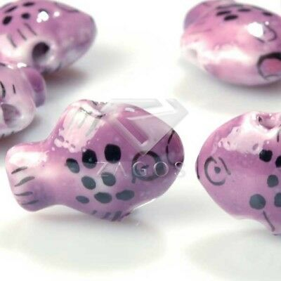 10pcs Colorful Handmade Porcelain Animal Spacer Loose Beads Jewelry Pendants