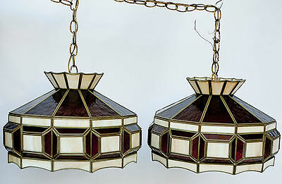 PAIR of Vintage Slag Stained Glass Panel Chandelier Ceiling Light Lamp Fixture