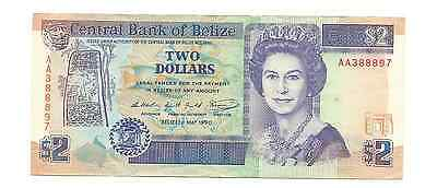 1990 Central Bank of Belize $2 Two Dollars Foreign World Banknote