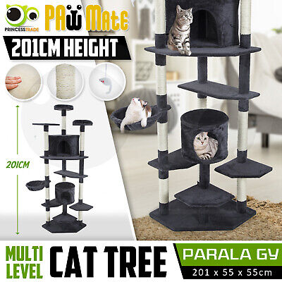 Cat Tree Scratching Post Scratcher Pole Gym House Furniture Multi Level 203cm GY