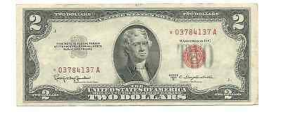 Series 1953 C $2 Two Dollars United States Legal Tender Red Seal Star Note