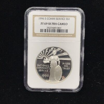 1996 S COMM SERVICE S$1 Silver One Dollar NGC PF 69 ULTRA CAMEO Coin