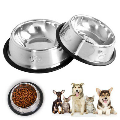 Stainless Durable Pet Cat Dog Puppy Food Water Single Bowl Feeding Travel Dish