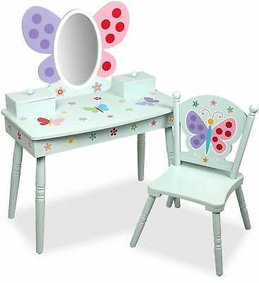 Olive Kids Butterfly Garden Vanity and Chair Set in Blue with Winged Mirror NEW