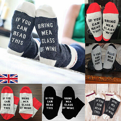 UK Women Men Unisex Beer Socks If You Can Read This Bring Me A Glass Of Wine New