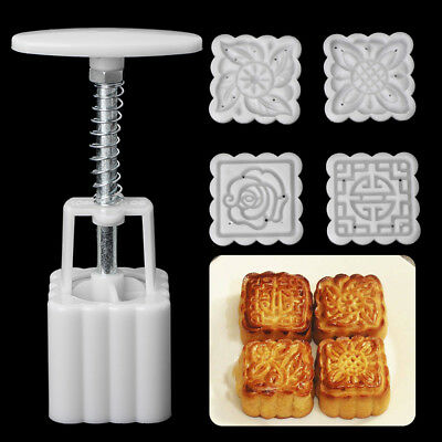Set DIY Moon Cake Mooncake Mold Flowers Square 4 Stamps Pastry Mould Decoration