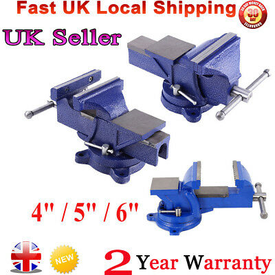 "4"" 5"" 6"" Heavy Duty Bench Vice Vise Swivel Base Workshop Clamp Jaw Work Table"