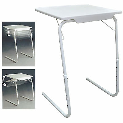 Adjustable Folding Table TV Dinner Coffee Laptop Table Mate Travelling Tray Tall