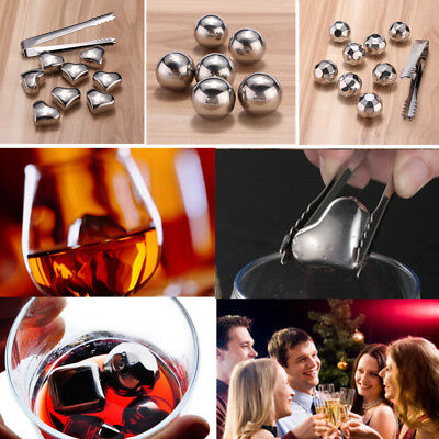 Whiskey Wine Beer Stainless Steel Cooler Stones Ice Cube Chiller Rocks Drinks