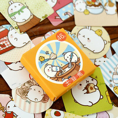 46pcs/pack Cute Rabbit Stickers Kawaii Planner Notes Memo Pad Sticky Stationery