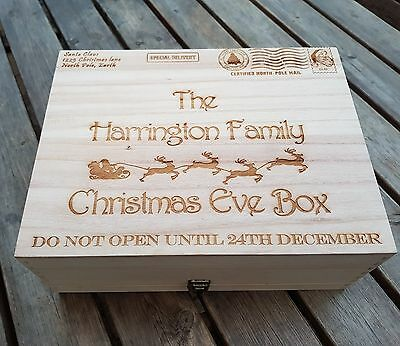 Personalised Engraved Wooden Christmas Eve Treat Box Xlarge Family Box Special