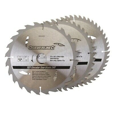 210 X 30 - 25, 16Mm Rings Tct Circular Saw Blades 24, 40, 48T 3Pk 690459