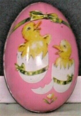 LAST 1!  Vintage OLD 2 BABY CHICKS Metal EASTER EGG Candy Container HONG KONG