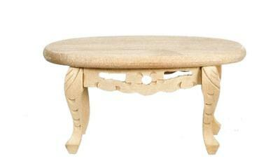 Melody Jane Dolls House Miniature Oval Coffee Table Unfinished Bare Wood