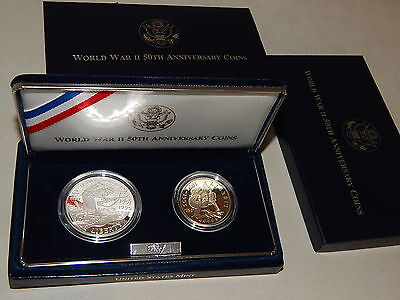 1991-1995 US WWII Commemorative Silver Dollar & Half Coin Set  Proof