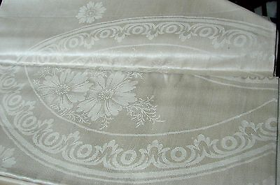 Antique Irish Pure Flax Linen Daisy Damask Tablecloth