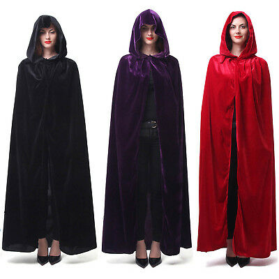Women Velvet Cape Hood Halloween Robe Medieval Witch Cosplay Costume Cloak