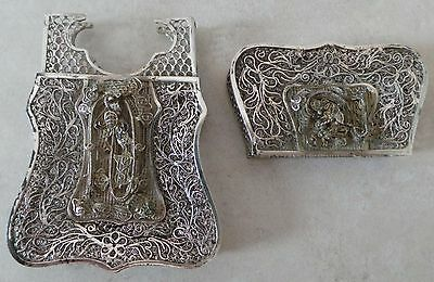 c1850, CHINESE SILVER FILIGREE CARD CASE -DECORATED WITH CHILONG DRAGONS -CANTON