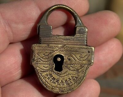 Very Old Medieval Middle Ages Brass Bronze Padlock Lock With Ornamentation