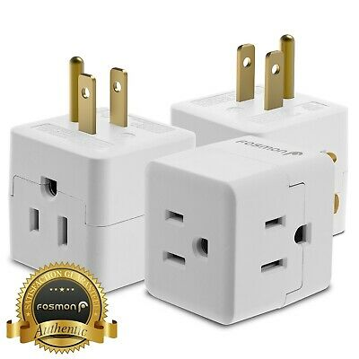 3x Outlet Indoor Grounded AC Power 3 Prong Light Wall Tap Adapter [ETL Listed]