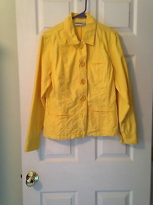 Chico's Size 1 Yellow Cotton Button Down Long Sleeve Women's Jacket
