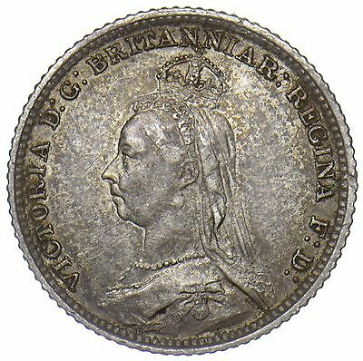 1888 Groat (Fourpence) - Victoria British Silver Coin - V Nice
