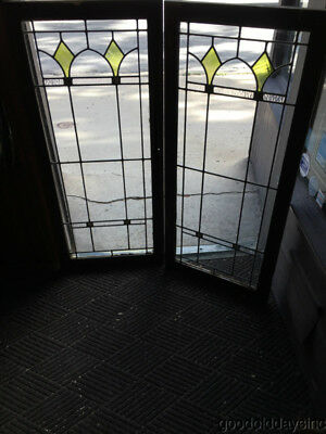 "Antique 1920's Stained Leaded Glass Cabinet Doors / Windows 46 1/2"" by 21"""