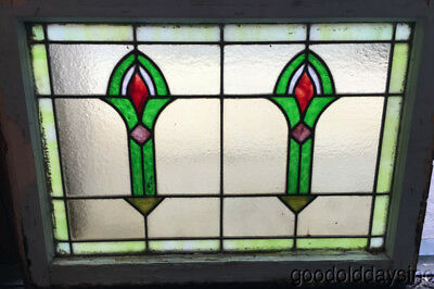 "Antique Stained Leaded Glass Transom Window 28"" by 20 1/2"" Circa 1915"